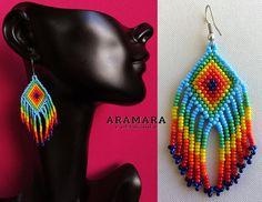 Huichol Beaded Earrings AO-0158 Huichol art Mexican earrings