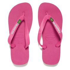 Havaianas Women's Brasil Logo Flip Flops - Orchid Rose (£16) ❤ liked on Polyvore featuring shoes, sandals, flip flops, pink, flat thong sandals, rubber thong sandals, strappy sandals, havaianas flip flops and toe thongs