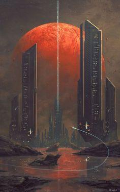 26 ideas science fiction illustration cyberpunk future city for 2019 Concept Art Landscape, Fantasy Landscape, Landscape Art, Landscape Wallpaper, Landscape Architecture, Arte Cyberpunk, Futuristic City, Futuristic Architecture, Architecture Geometric