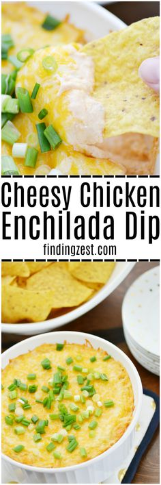 This Cheesy Chicken Enchilada Dip is sure to wow the crowd! You won't be disappointed with this easy hot dip recipe for your next game day party food or holiday appetizer. This creamy chicken dip is loaded with cheese and rotisserie chicken, making it a filling snack option that the crowd will love!