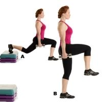 Works core, hips, glutes, hamstrings, and quads    Grab a pair of 12- to 15-pound dumbbells and stand with your back to a 12-inch-high step two to three feet away. Place your right toes on the bench and sink into a lunge (A). Straighten your left leg as you bring your right knee in front of you and up until your right thigh is parallel to the floor (B). Balance on your left leg for one second, then return to start. Do 12 to 15 reps, then repeat on the other side. That's one set. Do three…