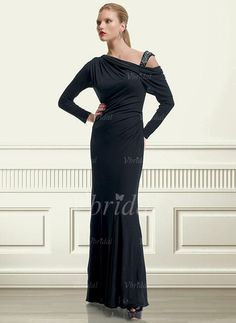 Sheath/Column One-Shoulder Floor-Length Ruffle Beading Chiffon Zipper Up at Side Long Sleeves 2015 Black Spring Fall General Mother of the Bride Dress