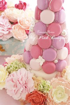 spring color wedding macaron tower