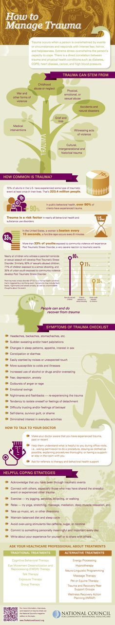 'People can and do recover from trauma'. How to Manage Trauma infographic. [thenationalcouncil.org]