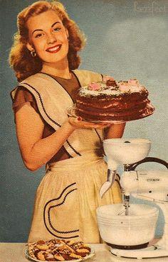 Vintage advertisement ~ Happy Housewife with chocolate cake Images Vintage, Vintage Diy, Vintage Pictures, Vintage Posters, Retro Images, 1950s Housewife, Vintage Housewife, Housewife Meme, Vintage Baking