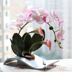 Ikebana Floral Arrangement Lilies | Fancy handmade ikebana artificial orchid flowers arrangements flores ...