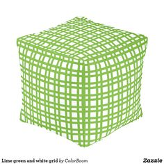 Lime green and white grid pouf Board Decoration, Green Cushions, Green Home Decor, Decorative Cushions, Grid, Art Pieces, Lime, Coral, Make It Yourself