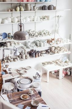 Tour a Gorgeous Dutch Ceramics Studio — - Tour the Gorgeous Dutch Ceramics Studio of Annemieke Booth in Amsterdam with Holly Marder for decor - Thrown Pottery, Slab Pottery, Pottery Vase, Ceramic Pottery, Pottery Wheel, Pottery Painting, Ceramic Shop, Pottery Shop, Porcelain Ceramic