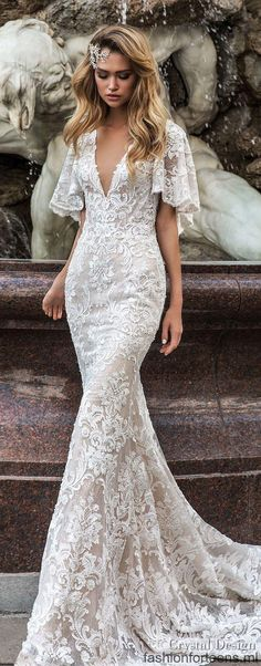 """crystal design 2018 half handkerchief sleeves v neck full embellishment elegant fit and flare wedding dress covered lace back medium train (indira) mv lv wedding gown Crystal Design 2018 Wedding Dresses — """"Royal Garden"""" & Haute Couture Bridal Collections Mermaid Dresses, Bridal Dresses, Bridesmaid Dresses, Mermaid Hair, Wedding Bridesmaids, Sweetheart Wedding Dress, Dress Wedding, Mermaid Sweetheart, Half Sleeve Wedding Dress"""