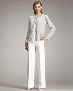 Ruffle-Trim Jacket & Straight-Leg Linen Trousers by Armani Collezioni at Neiman Marcus.