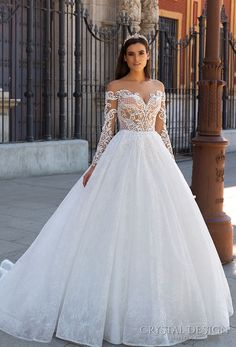 crystal design 2017 bridal long sleeves off the shoulder sweetheart neckline heavily embellished bodice romantic princess lace ball gown a line wedding dress sheer back royal train (freda) mv