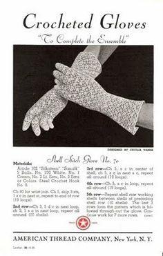 "Vintage Crochet Patterns: Crocheted Gloves — ""To Complete the Ensemble"" Knitting ProjectsKnitting For KidsCrochet ProjectsCrochet Scarf Crochet Gloves Pattern, Vintage Crochet Patterns, Crochet Mittens, Crochet Designs, Fingerless Mittens, Thread Crochet, Diy Crochet, Irish Crochet, Crochet Crafts"