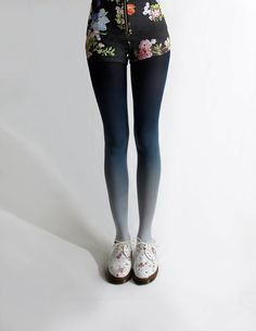 Ombre tights, fading from dark navy into grey.