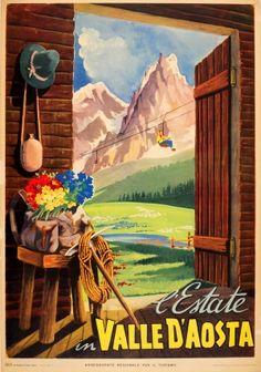 The Aosta Valley, 1954 - original vintage poster listed on AntikBar.co.uk