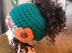 Crochet Pony Tail Hat by ButtonInTheBackHats on Etsy, $15.00