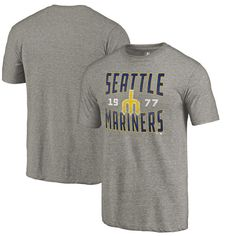 Men's Seattle Mariners Fanatics Branded Heathered Gray Antique Stack Tri-Blend T-Shirt