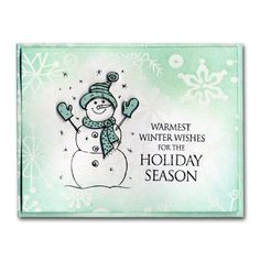 snowman card stamping | Stamped Snowman Glazed Cardstock Card
