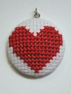 cross stitch heart pendant