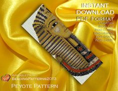 SALE 15% OFF - Peyote Pattern Bracelet Cuff Beading Miyuki Delica Size 11 Beads - PDF Download - Tutankhamun Egyptian