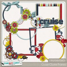 Cruise Digital Scrapbook Cluster Frames by TheKitCartDesigns
