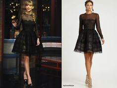 On The Late Show with David Letterman | October 23, 2012 Thanks Amy! Oscar de la Renta Sheer Lace Cocktail Dress Head-to-toe Oscar de la Renta. This was probably Sarahs favourite look from Taylors promotional campaign for the album (so far). Worn with: Oscar de la Renta heels