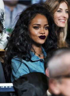 """RiRi wearing that lipstick, like whoa!! I love all shades of purple. This is a matte plum & fascinating!! OMG!! THANK YOU FOR ALL THE LOVE & REPINS TO YOUR BOARDS, OKAYIT'S TOTALLY APPRECIATED!! OH, WET & WILD HAS THIS & IT'S CALLED """"VAMP""""."""