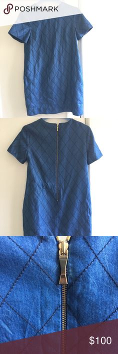 Kate Spade Dress Cute denim blue Kate Spade dress, size 4. This dress is in beautiful almost new condition with no signs of wear. It has only ever been dry cleaned. The dress is made of a diamond pattern in a pretty denim colored blue. Gold zipper. Perfect for summer! 🌵🌻 kate spade Dresses