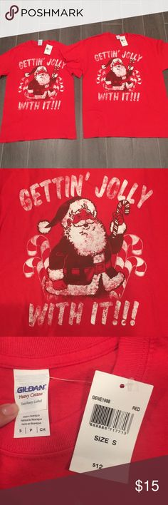 NWT Matching Couple's Holiday Tees 2 Adult Red, Santa T-Shirts  (1) size Small (1) size Large   Never worn/washed  Great for a Christmas party! Tops Tees - Short Sleeve