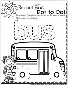 Back to School Preschool Worksheets - Planning Playtime Preschool Worksheets - School Bus Dot to Dot. Fall Preschool, Preschool Worksheets, Preschool Learning, Preschool Activities, Teaching, Weather Worksheets, Preschool Family, Nutrition Activities, Back To School Party
