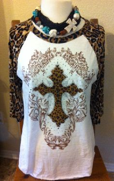 Brown Cheetah Rhinestone Cross Baseball T-Shirt