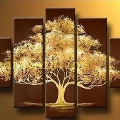 Hand Painted Modern Abstract Oil Painting on Canvas Wall Art Deco Home Decoration Tree of Life 5 Pic/set Stretched Ready to Hang Multiple Canvas Paintings, Multi Canvas Painting, Abstract Tree Painting, Abstract Oil, Diy Painting, Triptych Wall Art, Tree Wall Art, Tree Art, Canvas Wall Art
