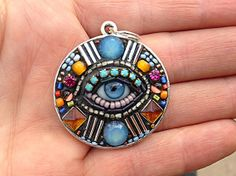 Small Round Eye Pendant Necklace by Betsy Youngquist (brown) www.byart.com