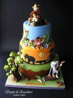 The Lion King cake by Sogni di Zucchero, ia Flick Lion King Party, Lion King Birthday, Fancy Cakes, Cute Cakes, Beautiful Cakes, Amazing Cakes, Lion King Baby Shower, Jungle Cake, Lion King Cakes