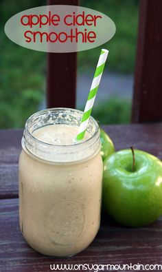 Apple Cider Breakfast Smoothie Recipe -◦1/2 cup oats ◦1 cup peeled, chopped apples (frozen if you have the time!) ◦1 frozen banana, chopped ◦1 cup apple cider ◦1/2 cup plain non-fat yogurt ◦1 tbsp honey ◦1 tsp apple pie spice