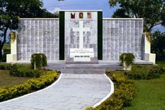 """Camp O'Donnell Memorial - Memorial to the memory of the """"Battling Bastards of Bataan"""", US Soldiers who fought on the Bataan Pennisula from December 1941 to April 1942, when they surrendered to superior Japanese Army forces. Location: Manila American Cemetery and Memorial, Manila, Philippines"""