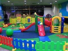 Indoor play area with play panel
