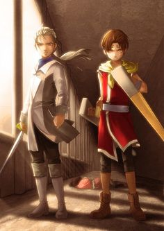 Riou and Jowy going up against King Maximilian after Nanami gets hurt. Suikoden, Cool Gear, Nanami, Fantasy Characters, Soundtrack, Video Games, Nostalgia, Princess Zelda, Cosplay