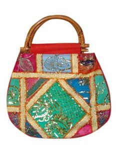 Womens Sari Tote Handbag Multi Red Patch Work Purses (Apparel) On sale now. Best Handbags, Tote Handbags, Purses And Handbags, Indian Inspired Decor, Red Sari, Work Purse, Gypsy, Mirrors, Crafty