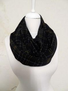 Black Plaid Chiffon Infinity scarf, Tube scarf, Circle scarf, Loop scarf, scarves, spring - fall - winter fashion by Aslidesign on Etsy https://www.etsy.com/listing/172279040/black-plaid-chiffon-infinity-scarf-tube