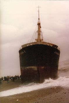 Greek ship the Athina B, which ran aground to the east of the Palace Pier on 21 January 1980 in Brighton, UK. Brighton England, New Brighton, Brighton And Hove, Old Pictures, Old Photos, National Front, Abandoned Ships, Shipwreck, Historical Pictures