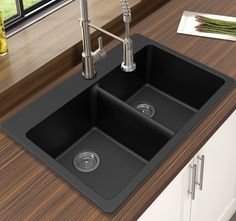 Buy Compare Winpro Black Granite Quartz Equal Double Bowl Dual Mount Sink from top home improvement retailers. Find great deals when buying bestselling double bowl sinks for your home. Drop In Kitchen Sink, Kitchen Sink Faucets, New Kitchen, Kitchen Decor, Awesome Kitchen, Narrow Kitchen, Kitchen Corner, Kitchen Colors, Kitchen Island