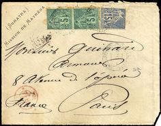French Colonies 1886.2 x 5 and 15 C. on face of cover from mission de Mayrena (Sumatra) to Paris, aging and transport traces, signed Scheller