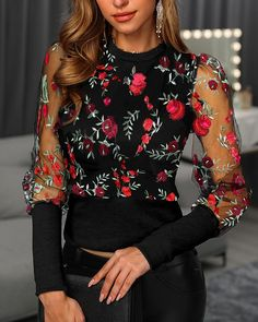 Floral Embroidery Patchwork Mesh Blouse - - Style:Fashion Pattern Type:Patchwork Material:Polyester Neckline:Round Neck Sleeve Style:Long Sleeve Decoration:Mesh Length:Regular Occasion:Casual Package Blouse Note: There might be Source by Trend Fashion, Fashion Outfits, Style Fashion, Fashion Pattern, Bordado Floral, Boho Stil, Blouse Online, Dress Online, Woman Clothing