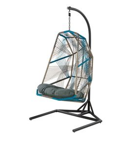 The Copa Outdoor Hanging Chair, in Cool Blue. A graphical, geometric statement chair, by MADE Studio. £449. MADE.COM