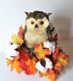 Fall Owl Centerpiece, Thanksgiving Owl Decor, Small Owl Floral Arrangement, Silk Flower Arrangement, Fall Table Decor, Small Table Decor #owl #new #falldecor #fall #homedecor #giftidea #handmade #etsy #decorations #allnew #rusticdecor