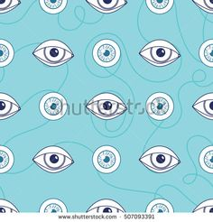 Abstract seamless pattern. Communication and eyes. Neutral blue palette. Concept creativity illustration internet network for young people, social media. Vector.