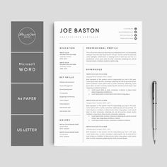 Proffesional Resume Professional Resume Template & Cover Letter Cv Professional Modern .