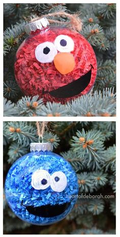 DIY Sesame Street Inspired Christmas Ornaments. This easy kid's craft makes Elmo and Cookie Monster Christmas balls to hang on your tree or give as kid made gifts! #kidmadeornament #diy #diychristmas #elmocraft