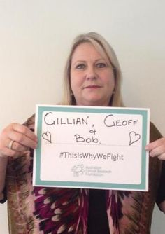 "Jo, from the Goodman Foundation, tells us who she is fighting for: ""This is for Gillian, Geoff and Bob and all of our team members"" http://acrf.com.au/ThisIsWhyWeFight/ #ThisIsWhyWeFight #cancer #support #hope"