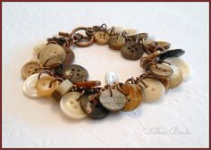 Button jewellery. Creamy chocolate charm style button bracelet by FolbarBeads, £10.00 https://www.etsy.com/uk/listing/126988023/creamy-chocolate-charm-style-button?ref=v1_other_1